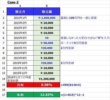 EXCEL IRR関数 case2